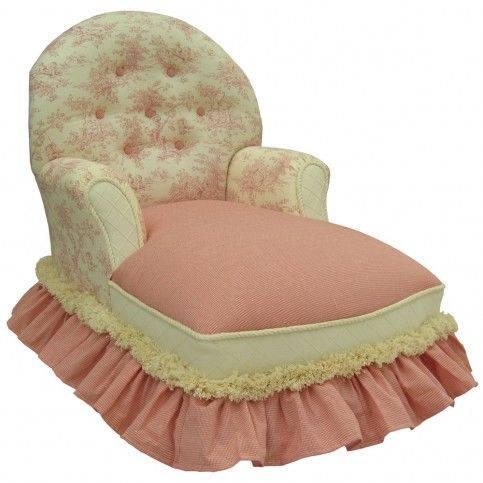 Toile Pink Child Queen Anne Chaise Lounge Dressing Room
