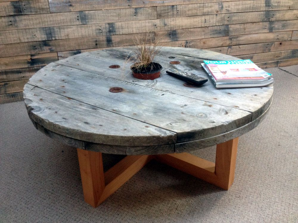 cable reel coffee table $400 | house renovation - jemma/jase