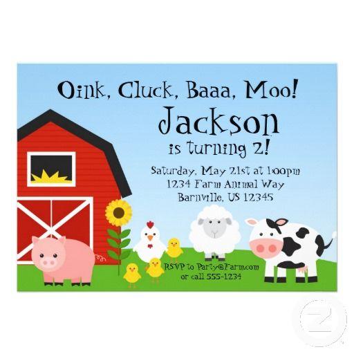Farm Animal And Barn Birthday Party Invite