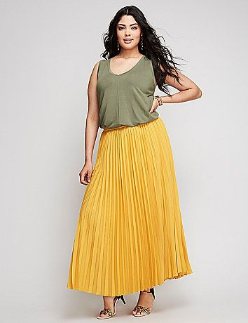 This maxi skirt has the swing and sway on lock thanks to the light, silky fabric and pleats. Lined. Elastic waistband. lanebryant.com