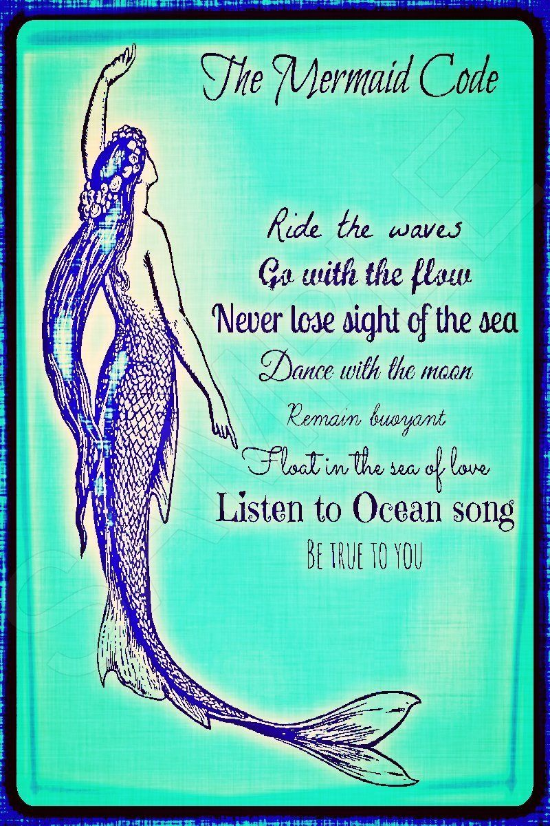 Amazon.com: Mermaid Code Distressed Image 8x12 Metal Sign Made In ...