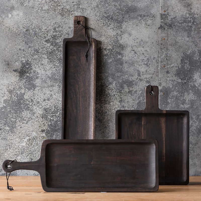 Ravensbourne Square Wooden Scooped Serving Boards Handmade And