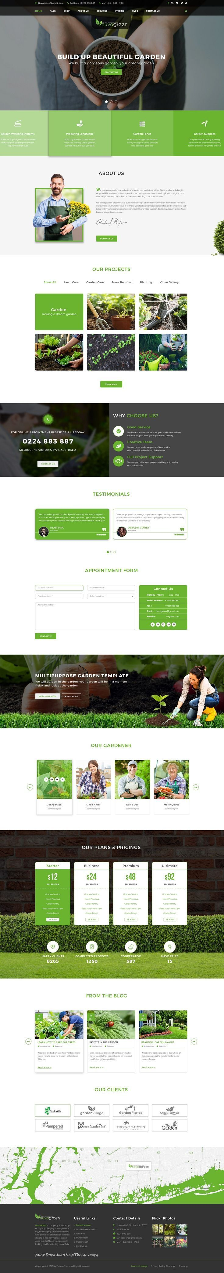 Nuvagreen Is Clean And Modern Design Psd Template For Gardening Landscaping Agriculture And Lawn Services Website Design Websites Web Design Layout Design