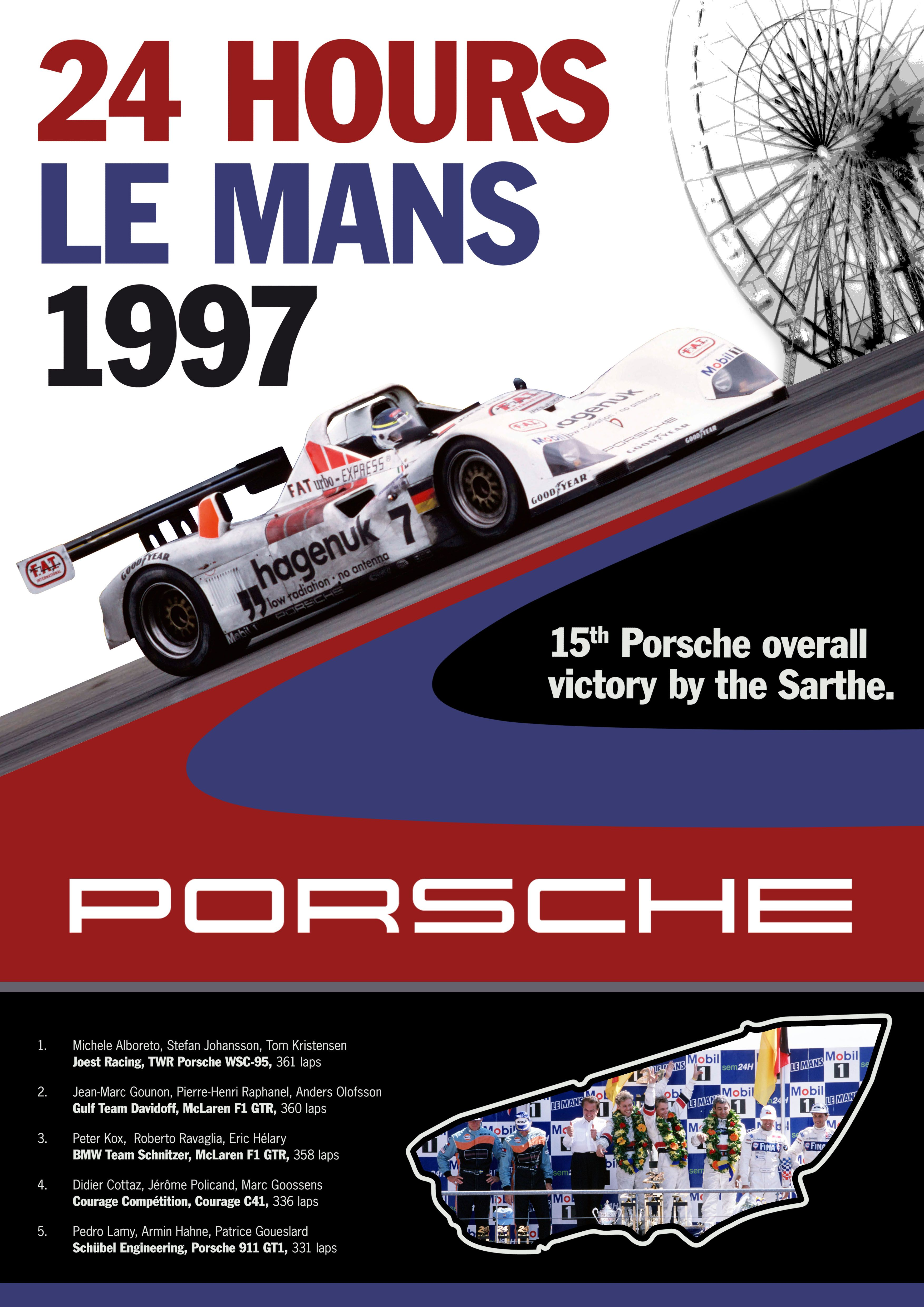 porsche le mans 1997 poster b design contest the missing poster of the 15th le mans victory. Black Bedroom Furniture Sets. Home Design Ideas