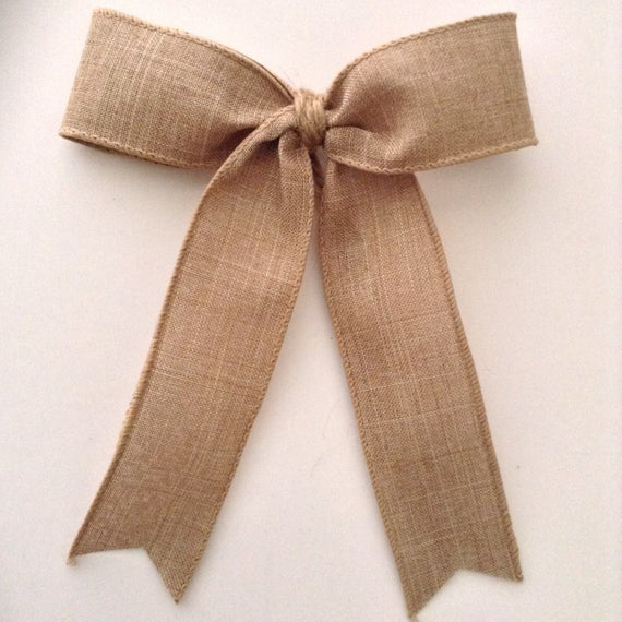 Burlap Decorative Bows ( set of 36 ) Natural - Handmade and design in Natural - Burlap fabric wired ribbon and Burlap String Jute in the center of each bow for easy attachment . Great for a wonderful Wedding Decor , Vintage - Country Decoration , Christmas Tree Decor , Wreath , Garland , Staircase