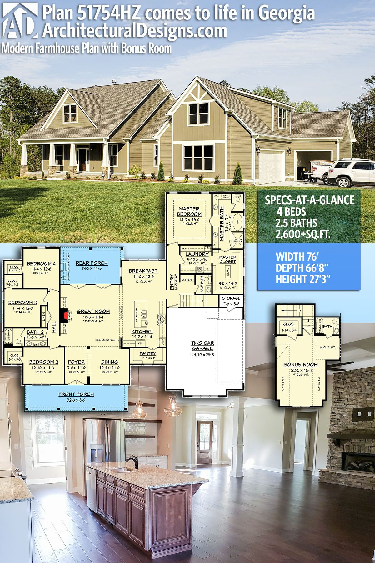 Architectural Designs Modern Farmhouse Plan 51754HZ client built