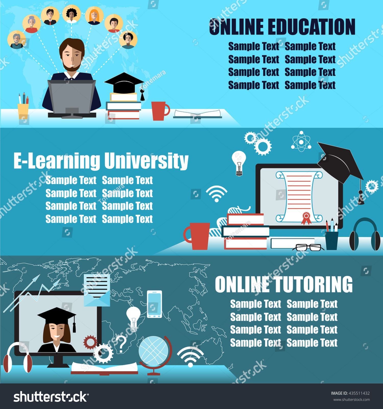 Banner Or Flier Design For Online Education Event E Learning Distance Education Or Virtual University Backg Online Education Online Tutoring Online Learning