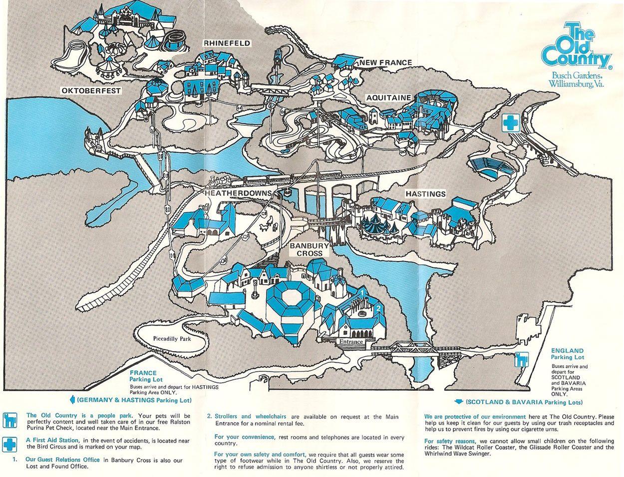 Busch Gardens The Old Country Theme Park Maps - Bush gardens park map