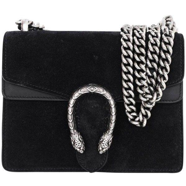 27f8e5277ee2d4 Gucci Black Suede Dionysus Mini Flap Crossbody Bag ( 1