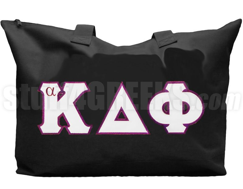 ALPHA KAPPA DELTA PHI TOTE BAG WITH GREEK LETTERS, BLACK  Item Id: PRE-TOTE-AKDF-BASIC-LTR-BLK    Price: $39.00