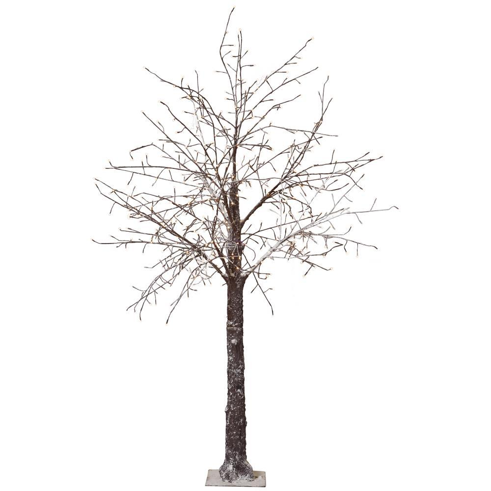 8 ft. Pre-Lit LED Snowy Brown Artificial Christmas Tree, Browns ...