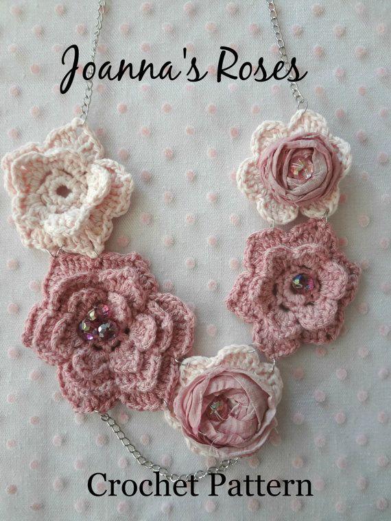 Crochet Pattern Joannas Roses Necklace Irish Roses Crochet