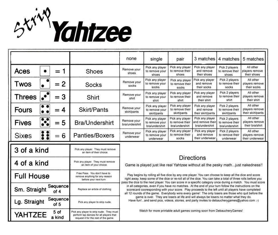 Strip Yahtzee Scorecard By DebaucherygamesDeviantartCom On