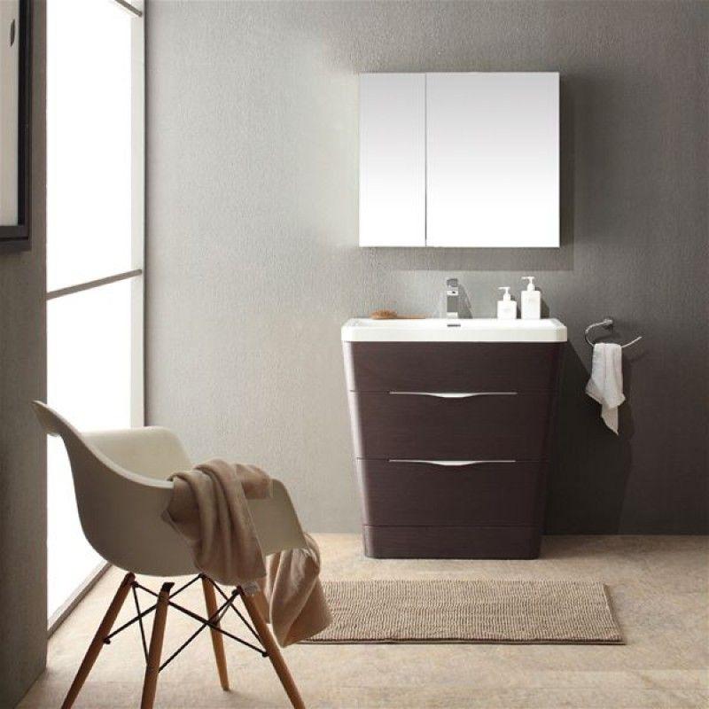 High Quality Fresca Milano Chestnut Modern Bathroom Vanity W/ Medicine Cabinet