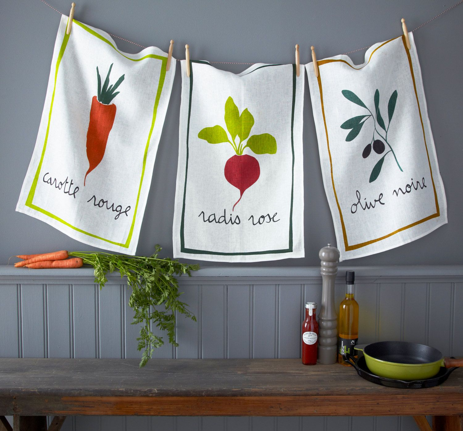 French Farmers Market Traditional Linen Dish Tea Towel Cloth