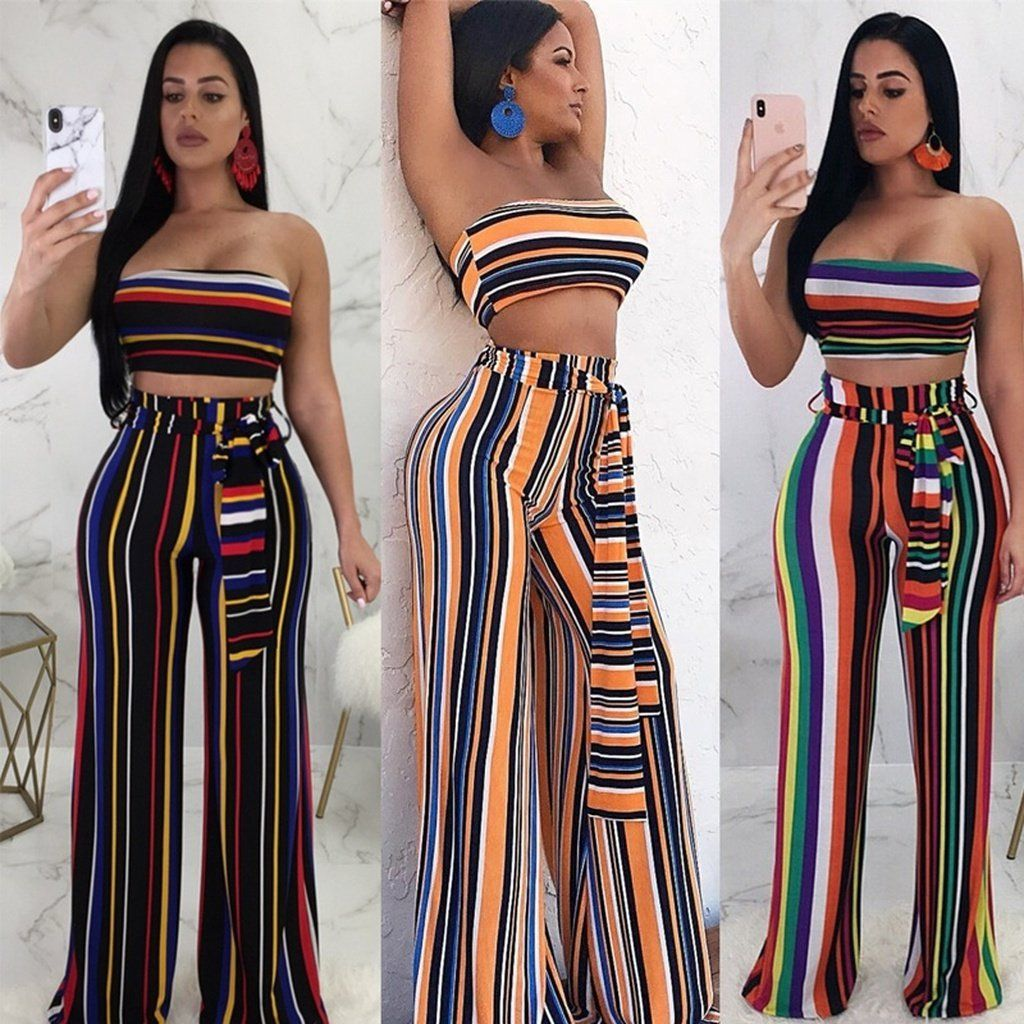 c2f5a23e743 Sexy Two Piece Set Women Summer Striped Strapless Crop Top And Wide Leg  Pants Suit Club