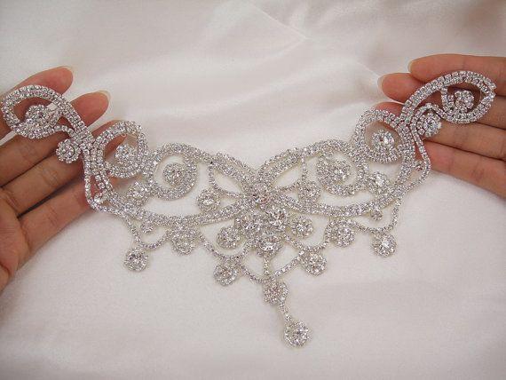 Bridal Dress DIY Applique Rhinestone Wedding Applique Diamante Trim Beaded Motif