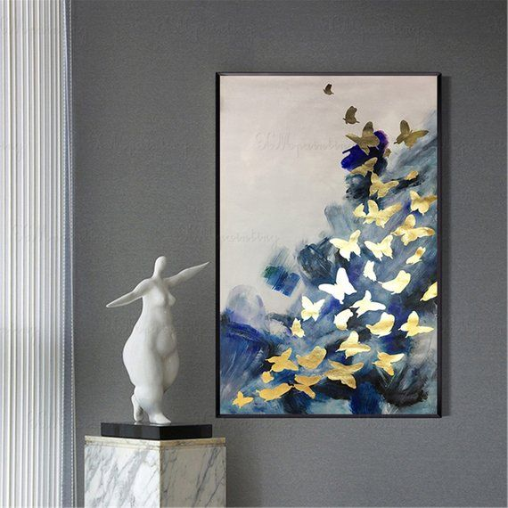 Gold leaf butterfly abstract painting wall art pictures for living room wall decor hallway acrylic gold blue texture canvas home decoration #paintinglivingrooms