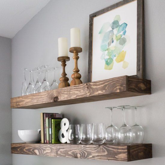 Lacking Storage Space In Your Kitchen Or Dining Room Build Some Chunky Floating Shelves Both Beautiful And Practical