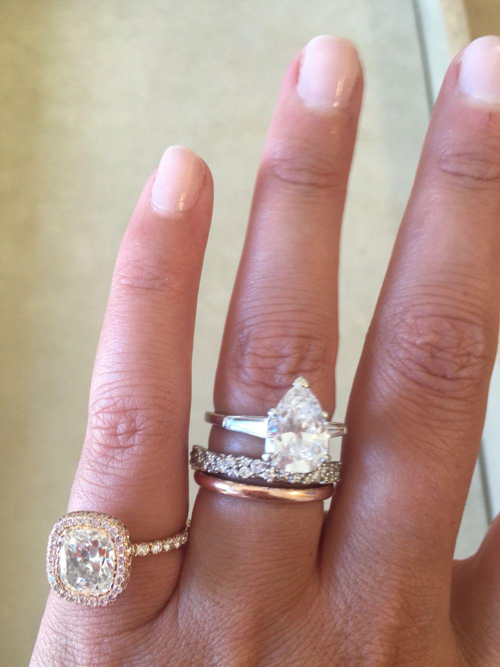 Diamond engagement rings cushion cut and pear cut diamond rings