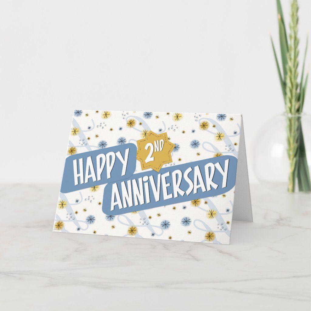 Employee anniversary 2 years blue white pattern card in