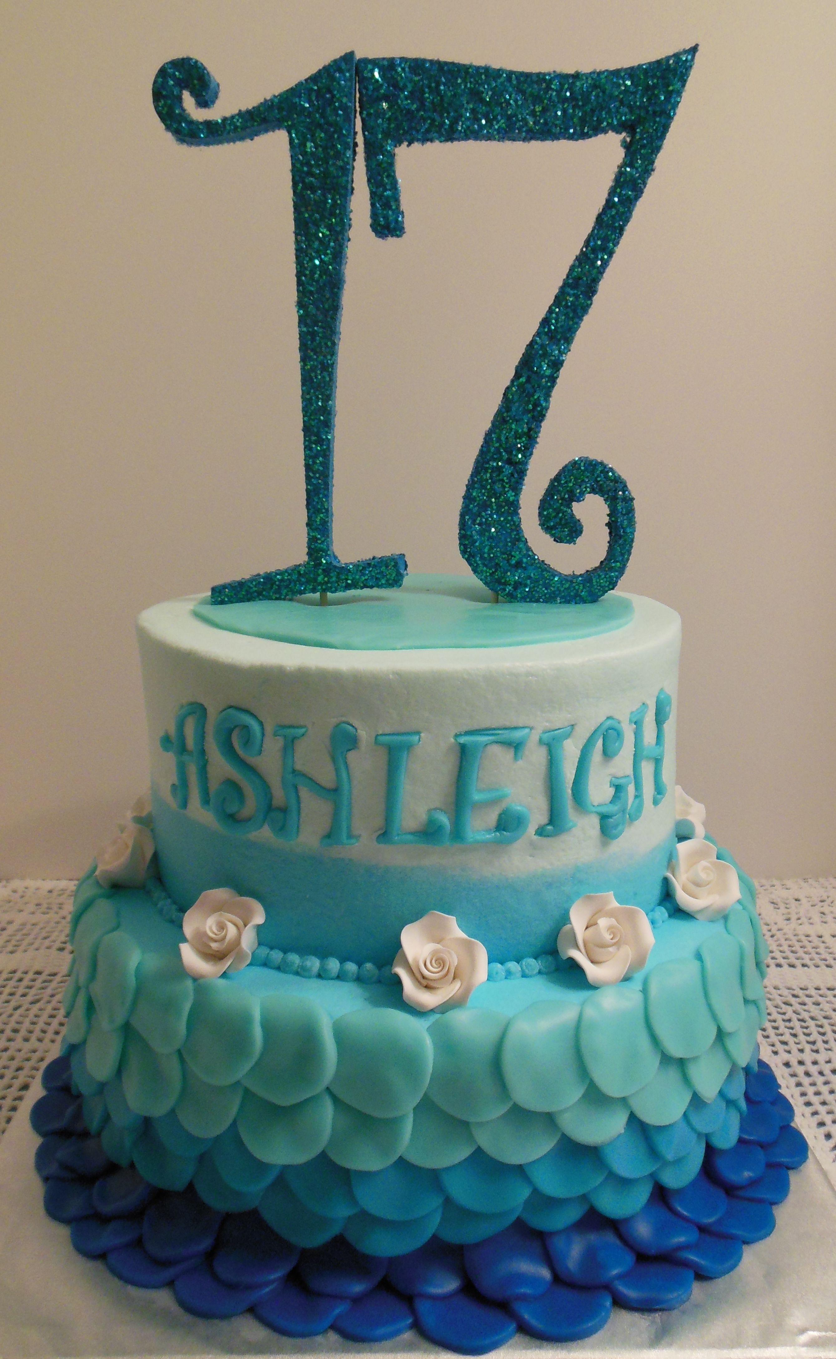 Shades Of Blue 17th Birthday Cake