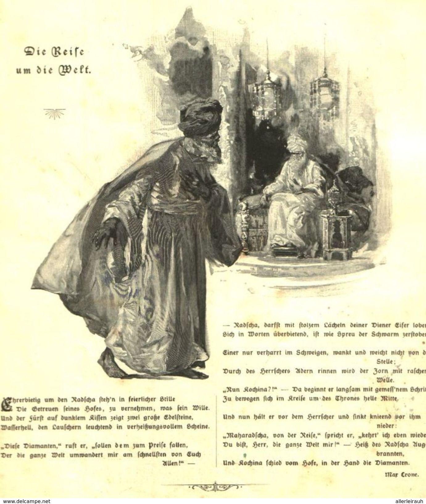 Die Reise Um Die Welt Druck Und Gedicht Entnommen Aus Zeitschrift 1901 Artikelnummer 487323808 Reise Um Die Welt Zeitschriften Drucken