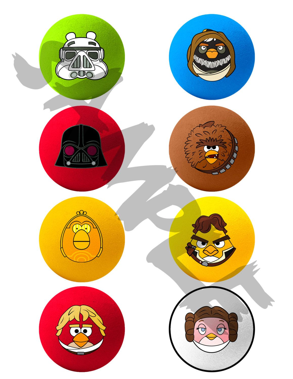 Angry Birds Star Wars Printable Cupcake Toppers Or