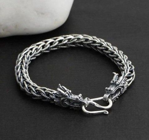 6949e89d02a Used Sterling Silver Jewelry Product. Feng Shui Dragon Bracelet Silver  Dragon Lucky Bracelet