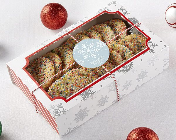 Silver Foil Snowflake Theme Treat Boxes Set of 12 Holiday Party