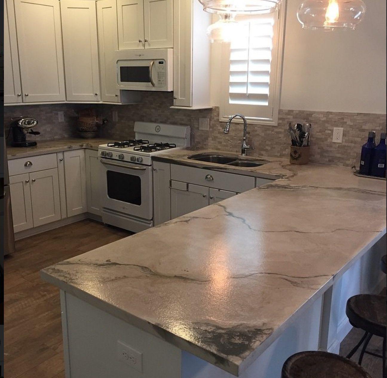 Kitchen Countertops Using Elastocrete