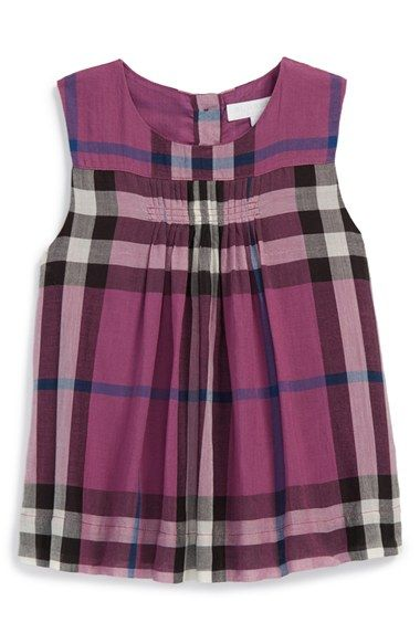 846b5618 Burberry 'Seran' Pleat Detail Check Cotton Top (Baby Girls) available at  #Nordstrom