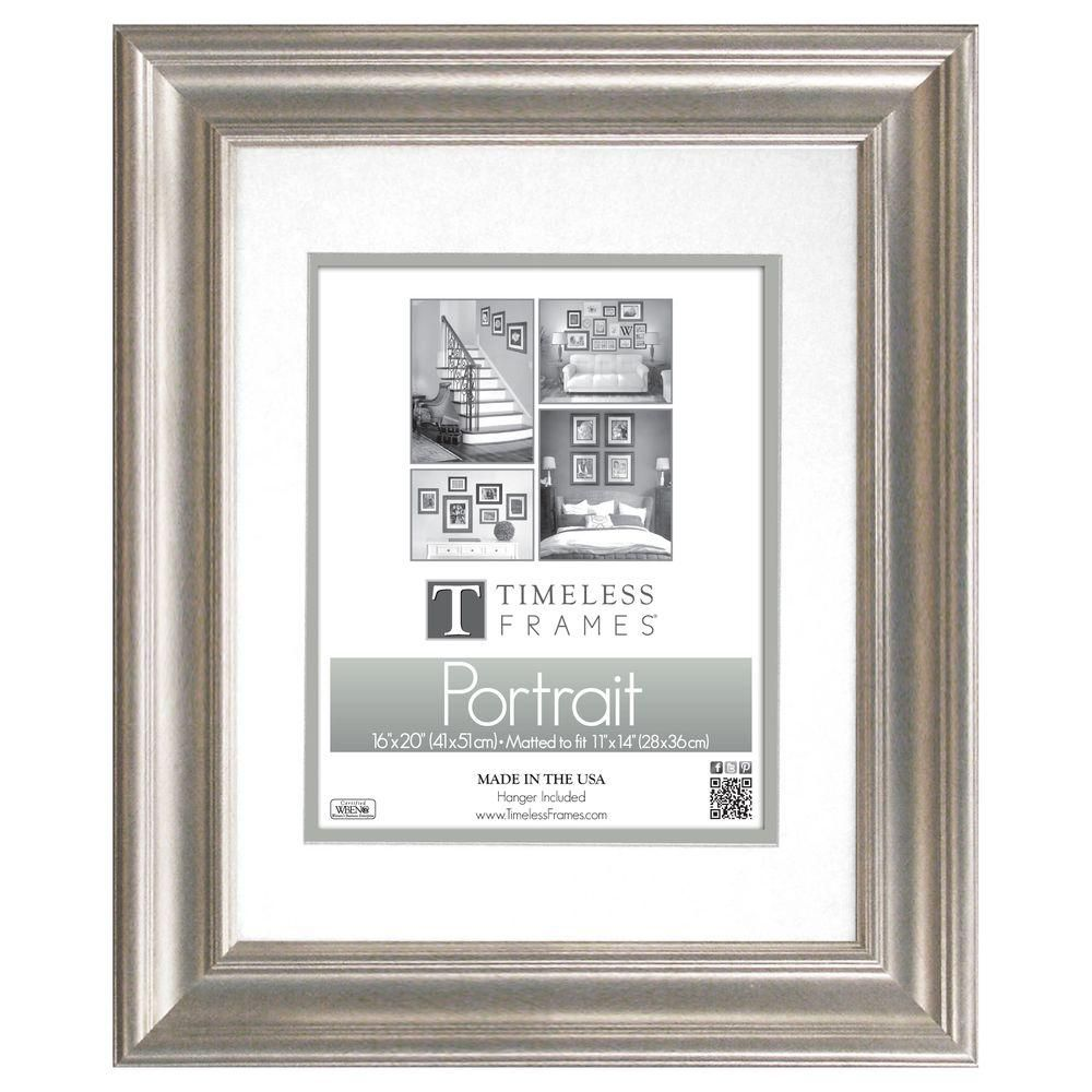 Timeless Frames Lauren 1 Opening 16 In X 20 In Silver Matted Picture Frame 51031 Portrait Frame Portrait Wall Photo Frame Wall