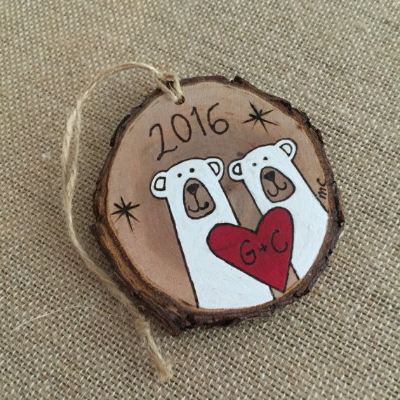Personalized polar bear ornament wood Christmas ornament wedding