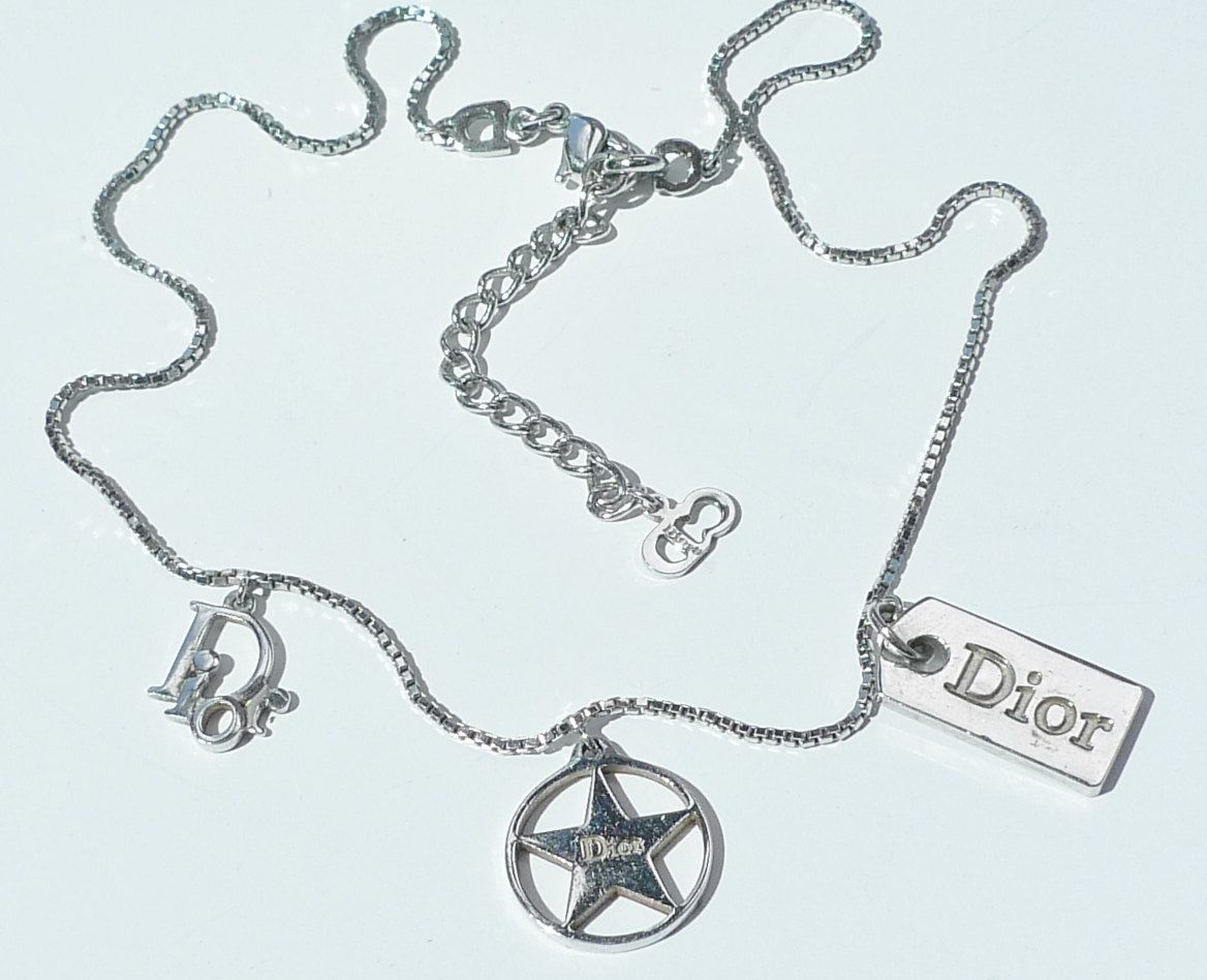 Christian Dior Silver Tone Necklace With Dior Charms Designer