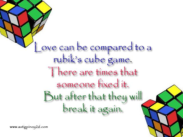 Love can be compared to a rubiks cube