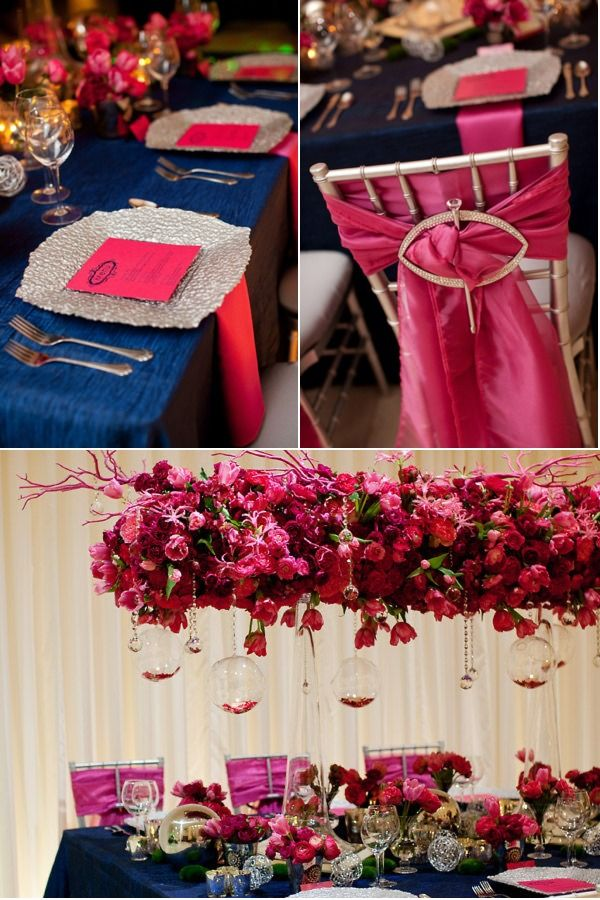 Navy and hot pink wedding guest table i would want gold for Navy blue and pink wedding