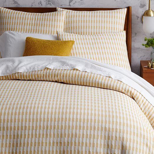 mid century organic ladder stripe jacquard duvet cover. Black Bedroom Furniture Sets. Home Design Ideas