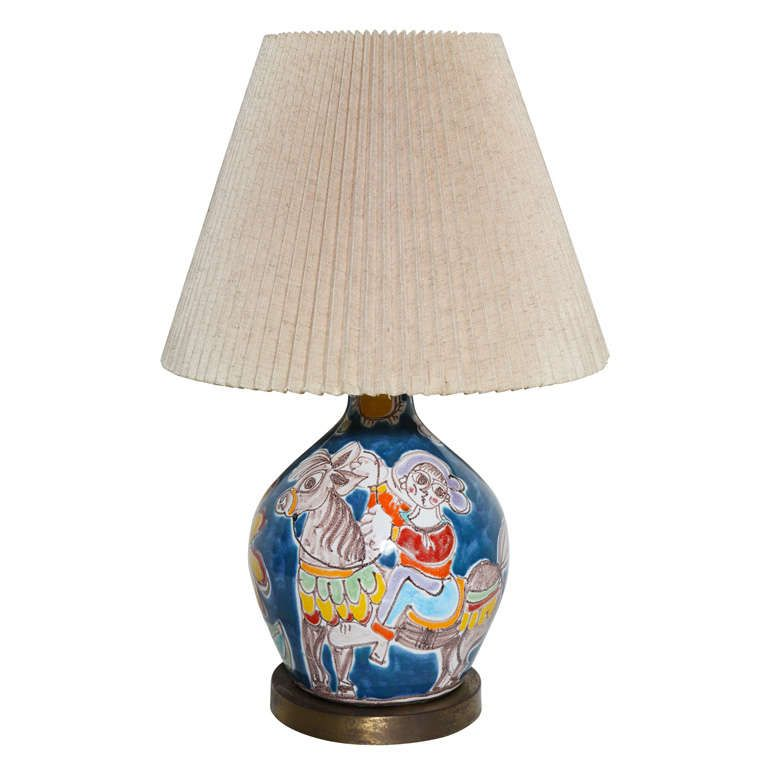 Desimone Blue Ceramic Table Lamp Hand Painted With Horse Girl And Flower 1960s Blue Ceramics Ceramic Table Lamps Lamp