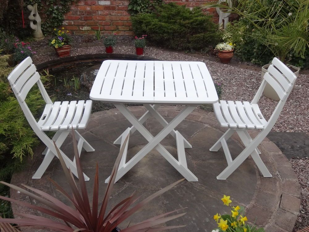 Folding 3 Piece Bistro Set Resin Table And 2 Chairs