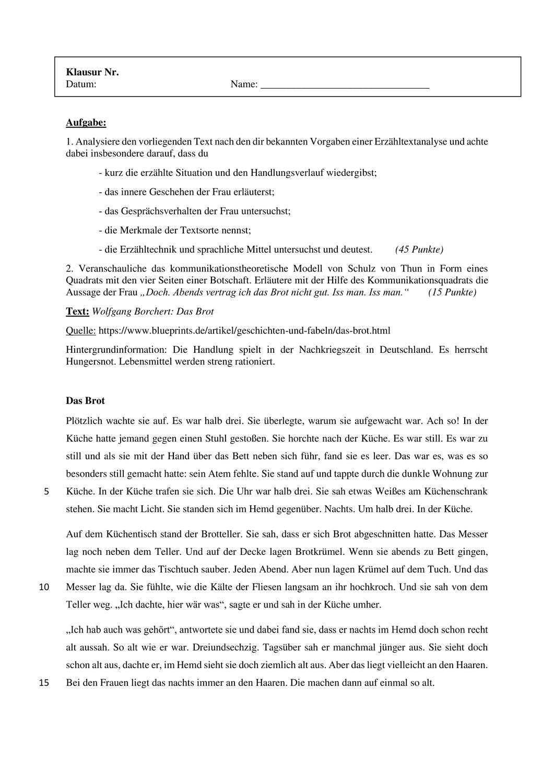 Ef Kommunikation In Kurzgeschichten Das Brot Unterrichtsmaterial Im Fach Deutsch Kurzgeschichten Geschichte Kommunikation