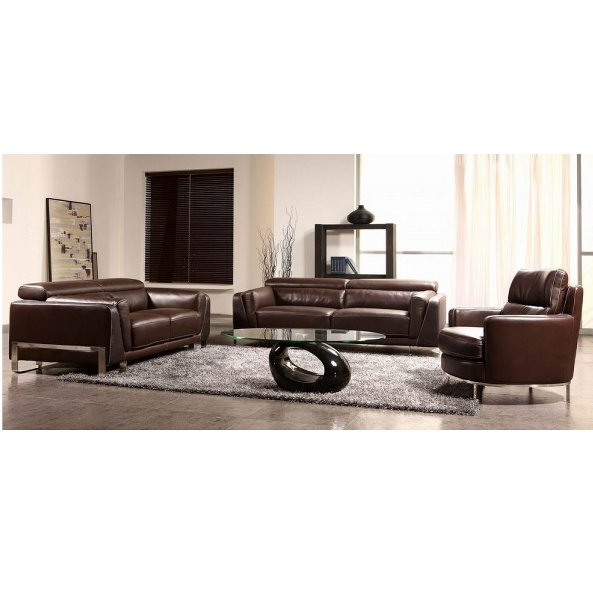 - Divani Casa BO3946 Espresso Crocodile Leather Sofa Set (With