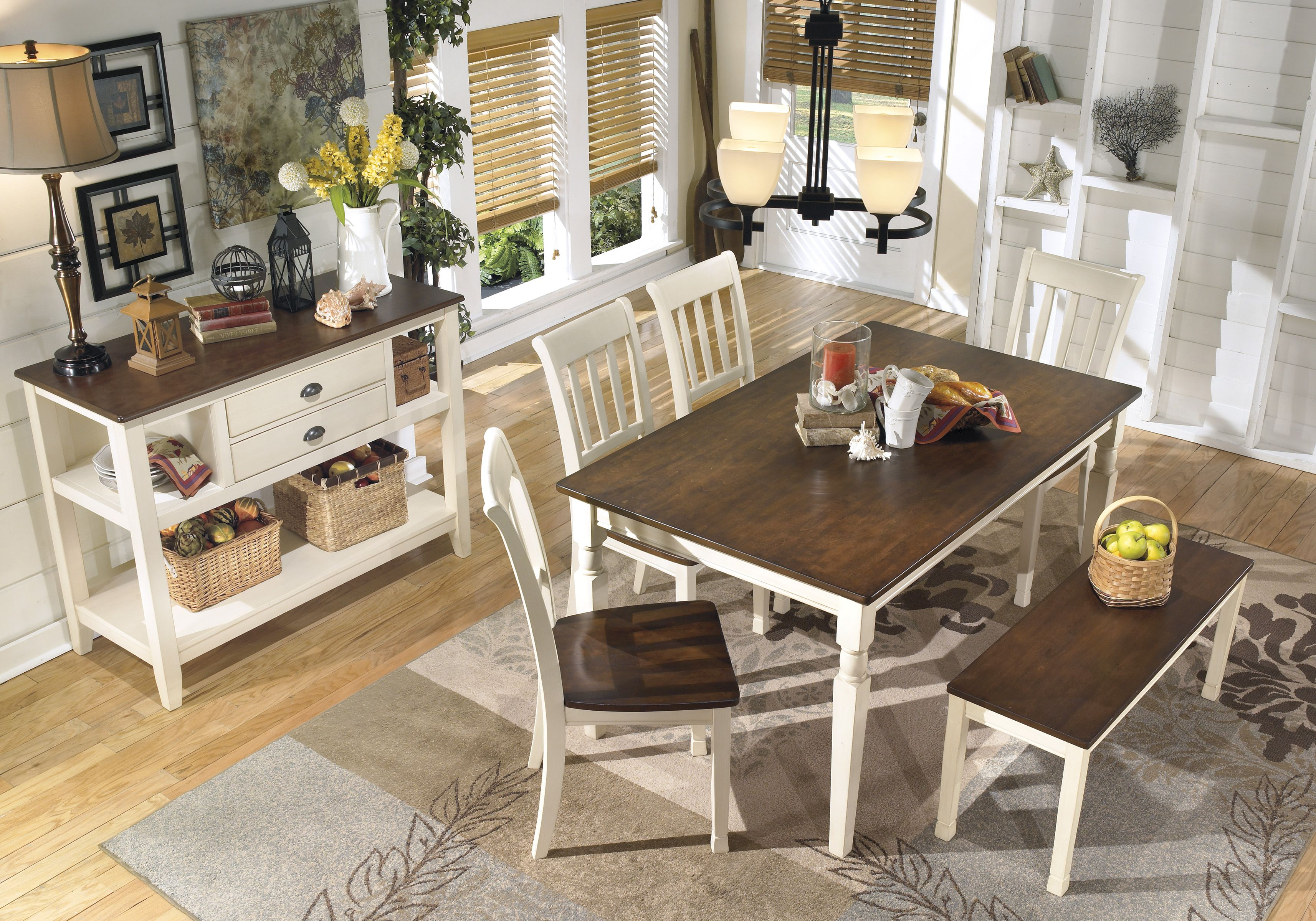 Kitchen table with bench seating and chairs  Painted white dining set Love it with the bench seating  OnTrend