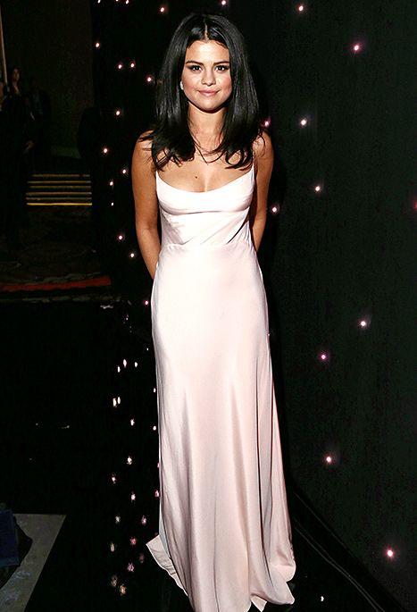Selena Gomez Looks Radiant In Pink Slip Dress Red Carpet Photos Us Weekly