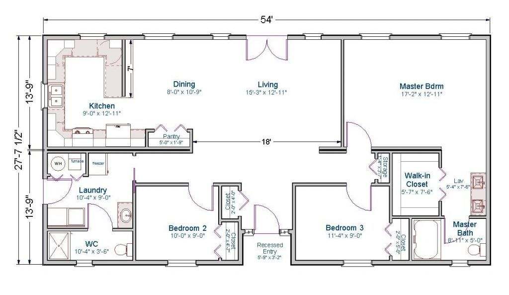 1400 Sq Ft House Plans 1600 India Home Klickitat Floor Plan Rectangle House Plans One Floor House Plans Floor Plans Ranch
