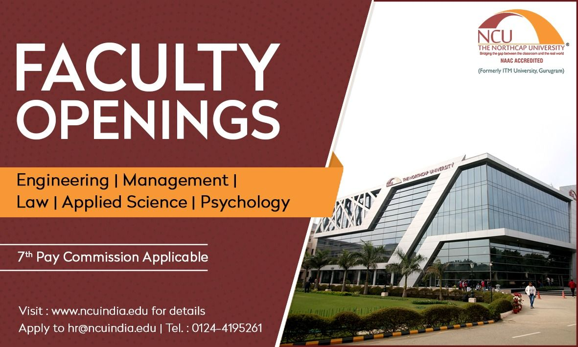 TheNorthCapUniversity is inviting applications for