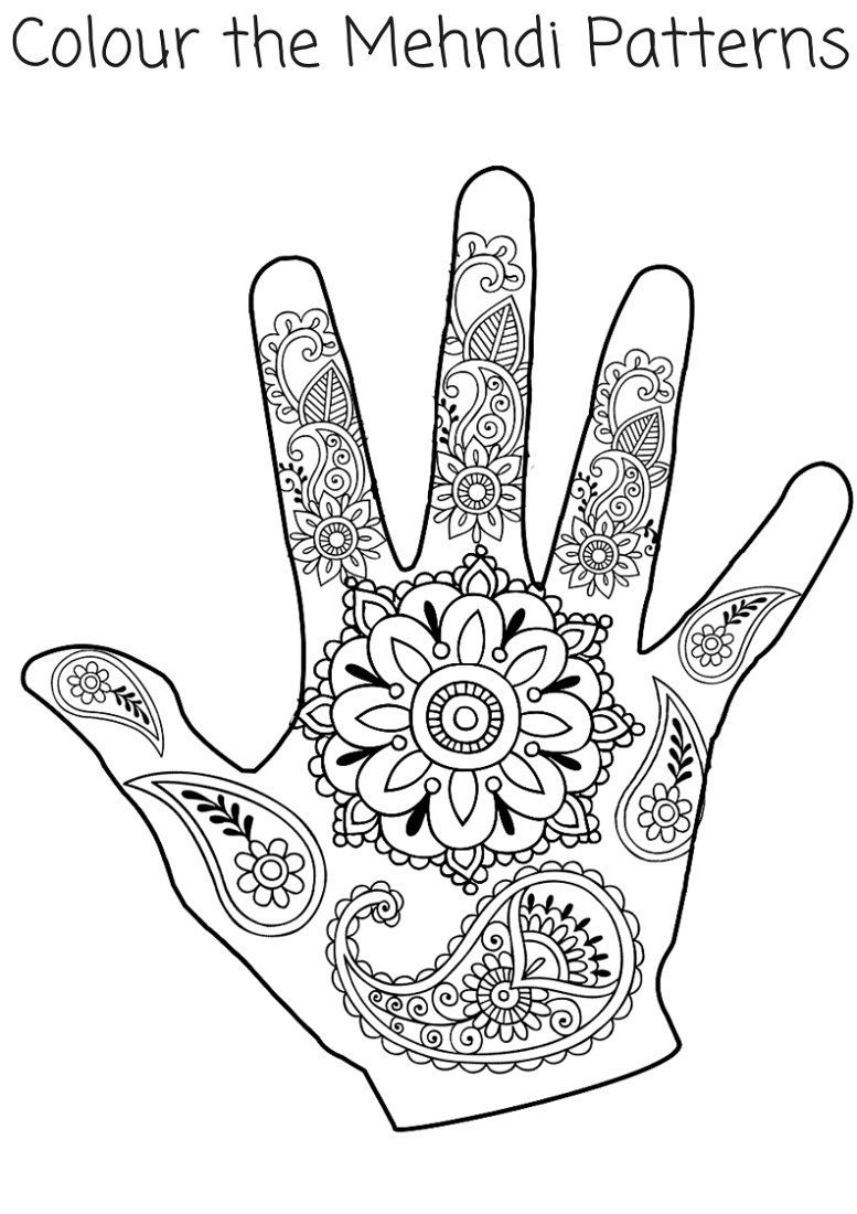 Henna Coloring Pages Pattern Ideas Printable Shelter Colouring Pages India Crafts Hand Crafts For Kids