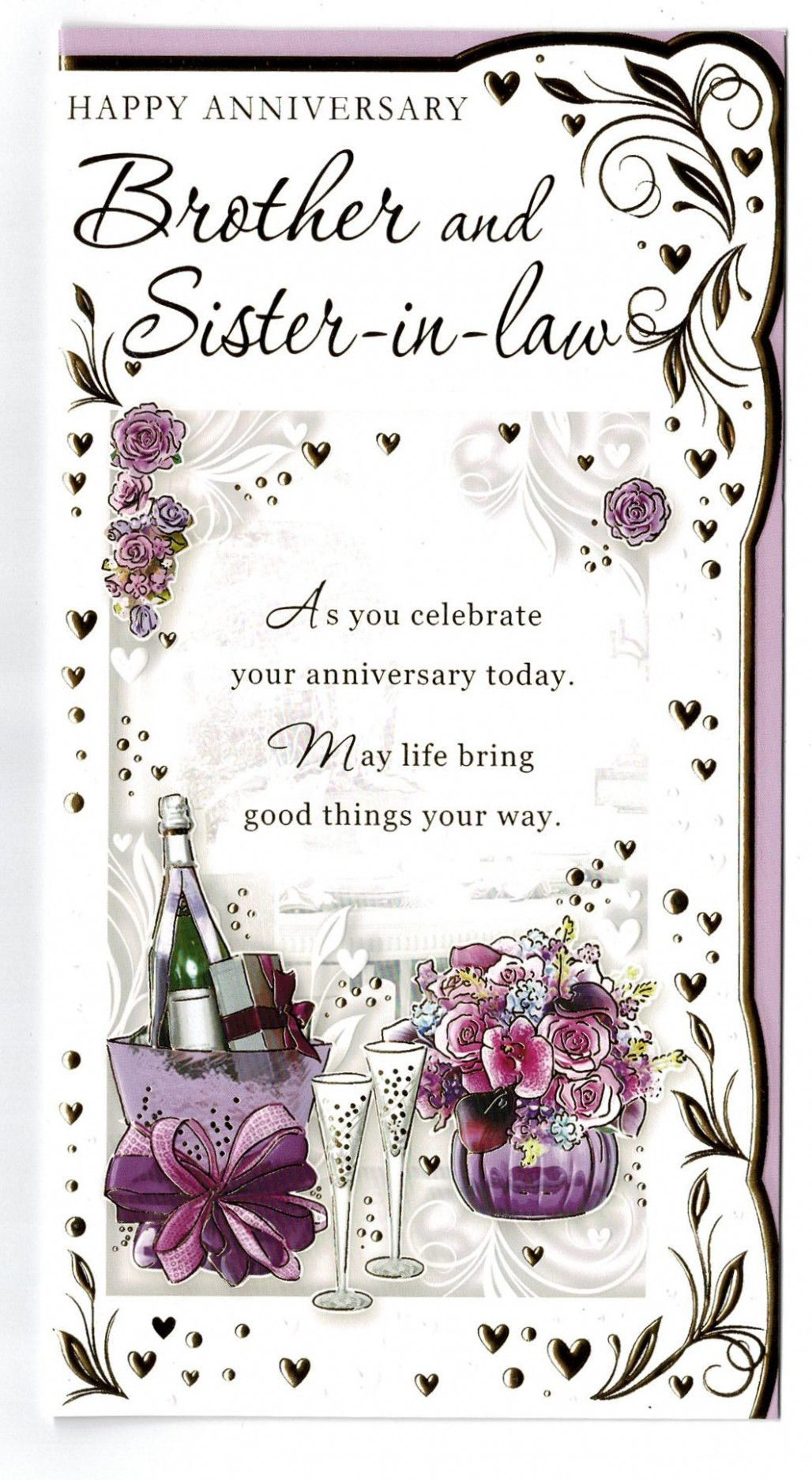 Brother And Sister In Law Anniversary Card With Sentiment Marriage Anniversary Cards Wedding Anniversary Cards Happy Anniversary Sister