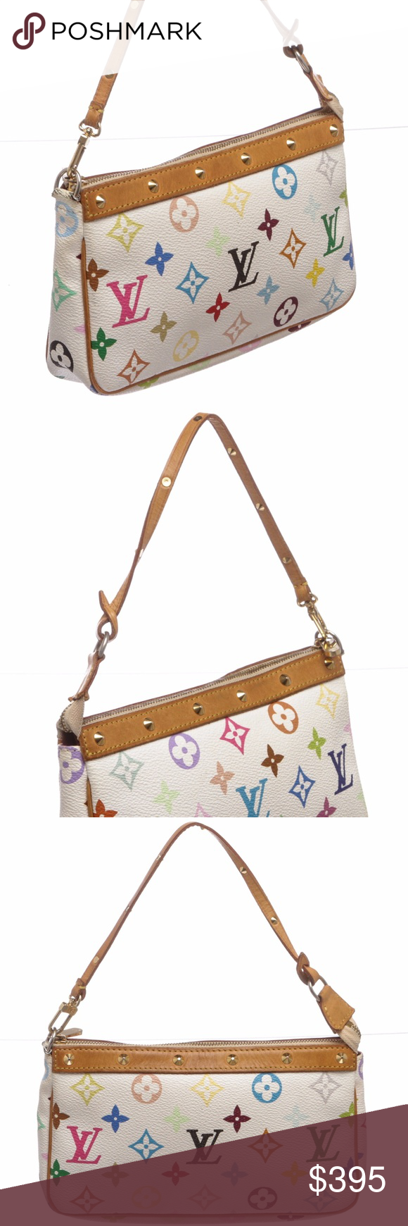 fe95b828c3d6 Louis Vuitton White Pochette Bag From the Takashi Murakami Collection. White  and multicolore monogram coated