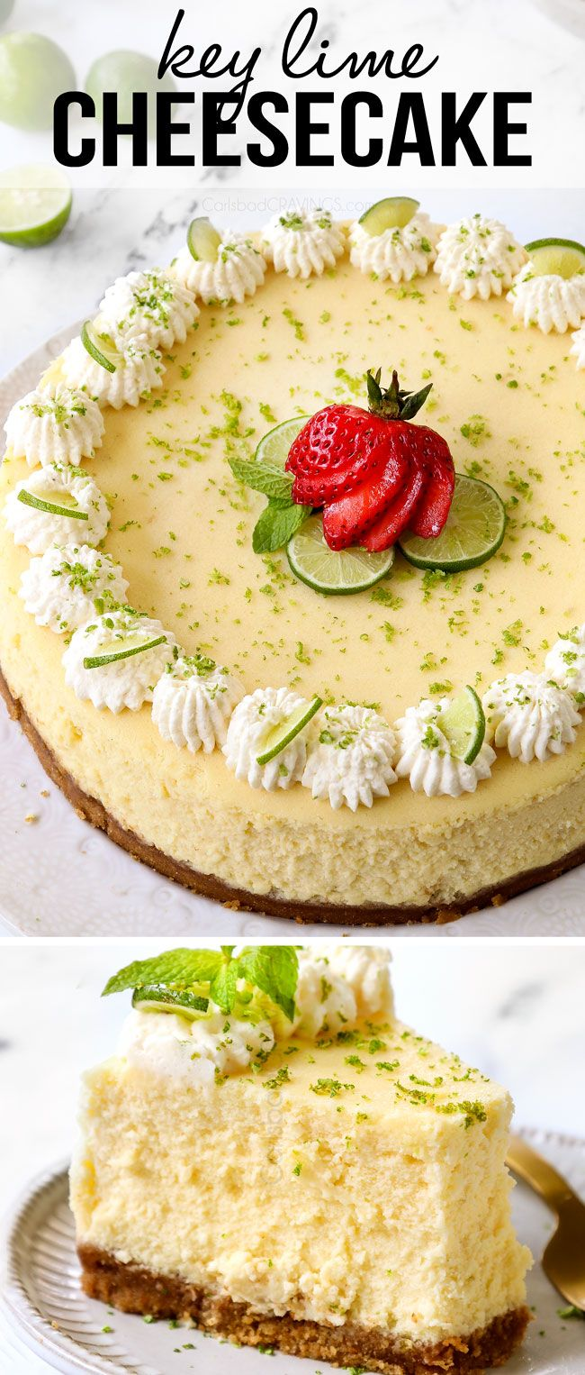 This easy Key Lime Cheesecake is unbelievable creamy, sweet and tangy, 100% make ahead friendly (even the whipped cream!) and guaranteed to become a new favorite spring and summer dessert (perfect for Easter)! #easterrecipes #summerdessert #springdessert #keylime #keylimecheesecake #cheesecake #cheesecakerecipes #cheesecakerecipe #recipes #dessertrecipes recipes #desserts #dessertfoodrecipes #desserttable #easterrecipes #keylimes #keylimerecipes #cheesecakes